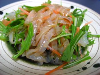 クラゲ と 水菜、ハリハリサラダ