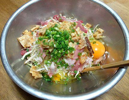 肉入りお好み焼き レシピ(作り方)1