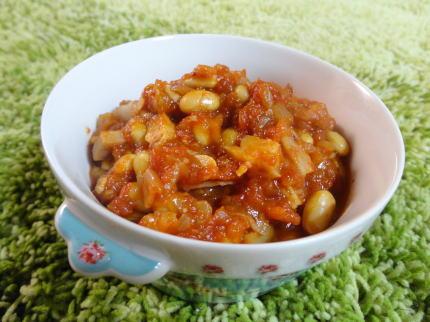大豆水煮レシピ、チリコンカン風 簡単ピリ辛トマト煮